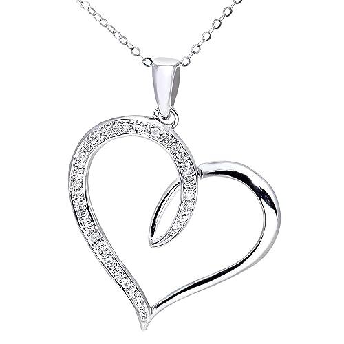 ac9270a84f Naava Collana con Pendente da Donna, Oro Bianco, Diamante: Amazon.it ...