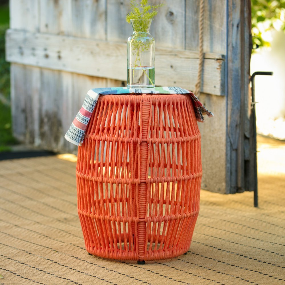 Garden Stool Made with Iron and Woven Rope for Indoor/Outdoor in Orange Finish 14W x 14D x 18H in. by Belham Living