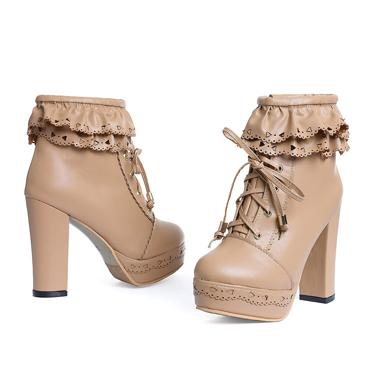 2bb9089b6 Amazon.com | Susanny Womens Office Party Sweet Lolita Platform Chunky High  Heel PU Lace up Ankle Boots | Ankle & Bootie