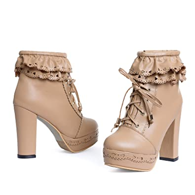 b5b64aa700 Susanny Womens Office Party Sweet Lolita Platform Chunky High Heel PU Lace  up Apricot Ankle Boots