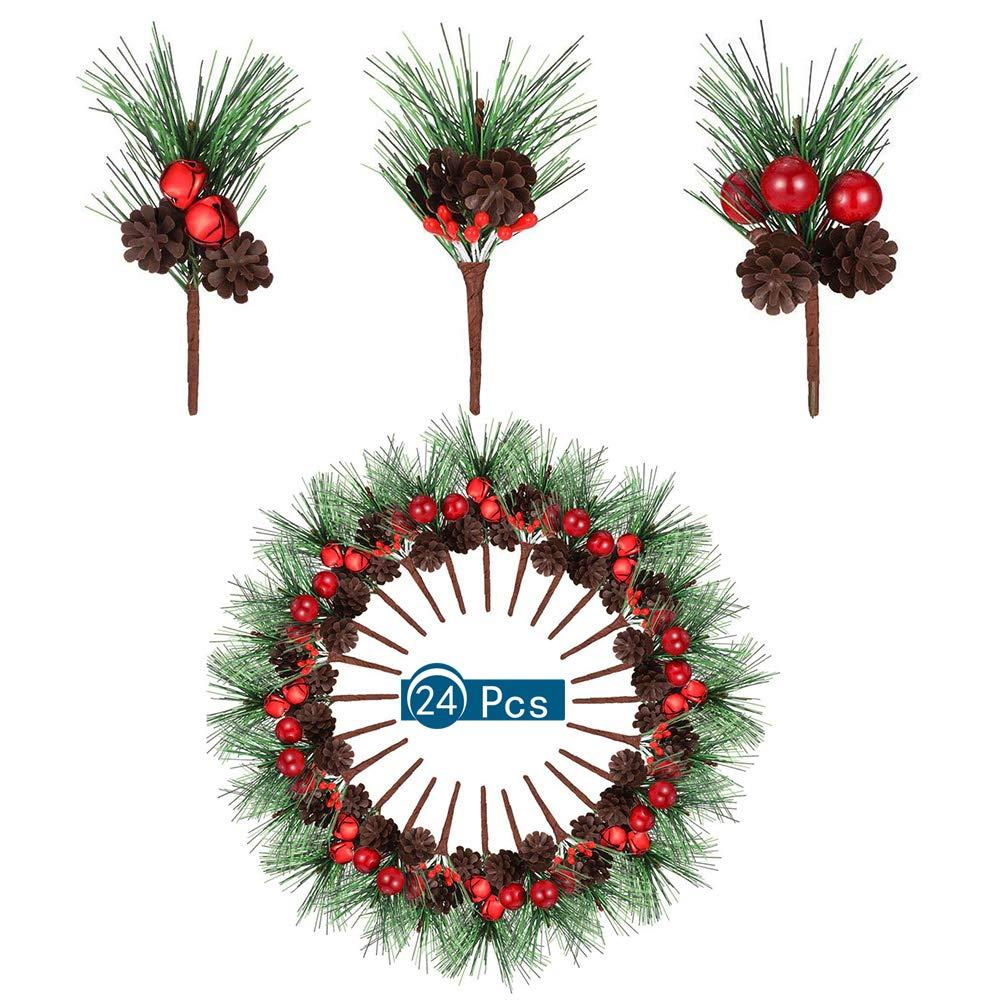d/écoration de Jardin avec Baies et Pommes de pin Angelikashalala Lot de 24 Petites Baies artificielles de Sapin de No/ël pour Mariage