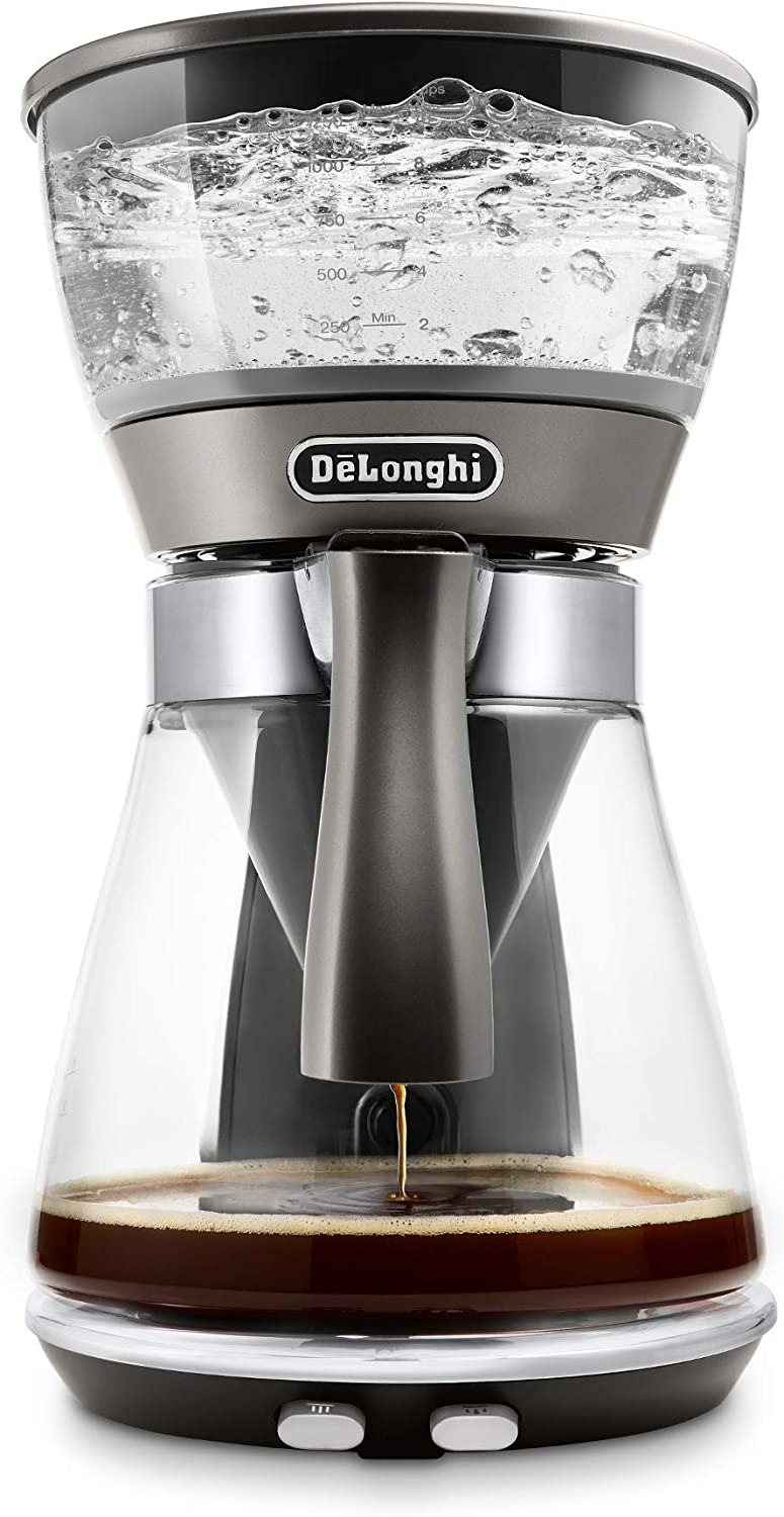 De'Longhi 3-in-1 Specialty Coffee Brewer, IcedCoffee Maker (Bold Cold Brew), Gourmet Pour Over, Premium Drip, SCA GoldenCup Certified, Glass Carafe, 8-Cup, ICM17270