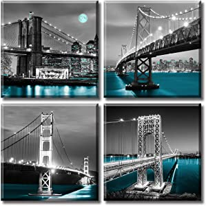 USA Bridge Canvas Wall Art Black White Brooklyn Bridge Oakland Bay Bridge San Francisco Golden Gate Bridge George Washington Bridge Cyan Lake Water Famous City Pictures Office Decor Stretched Framed