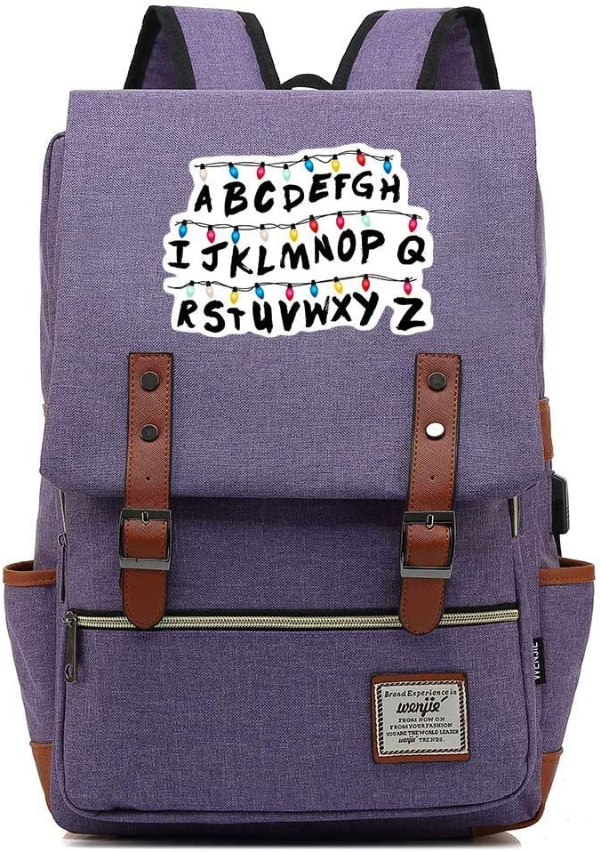 Unisex Business Laptop Backpack College Student School Bag Travel Rucksack Daypack with USB Charging Port One_Size, Purple