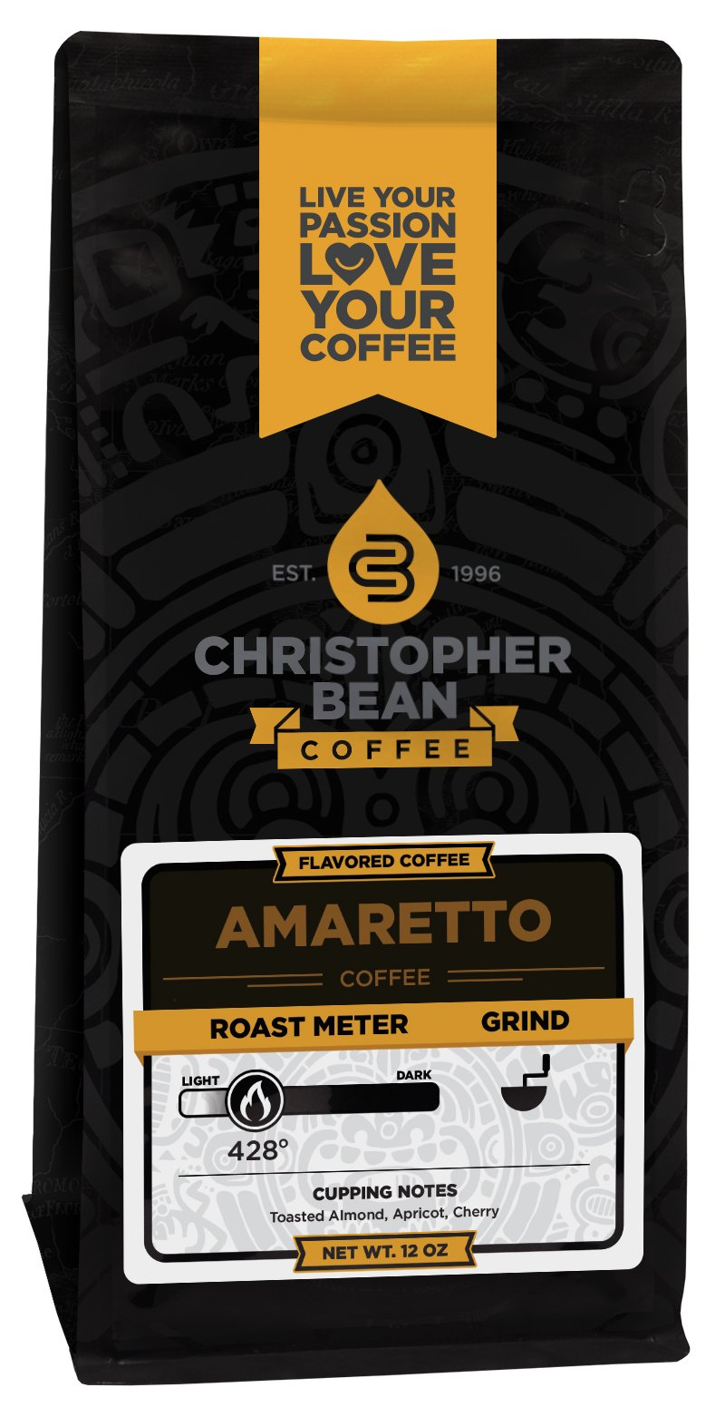 Christopher Bean Coffee Flavored Ground Bean Coffee, Amaretto, 12 Ounce