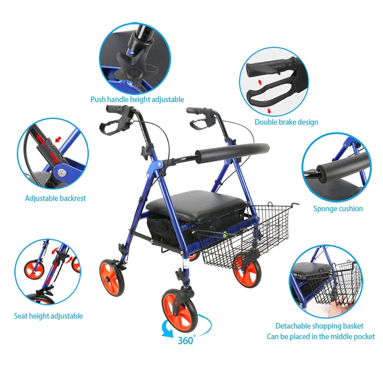 SHOW-WF Plegable 4 Ruedas Andador para Ancianos de Aluminio ...