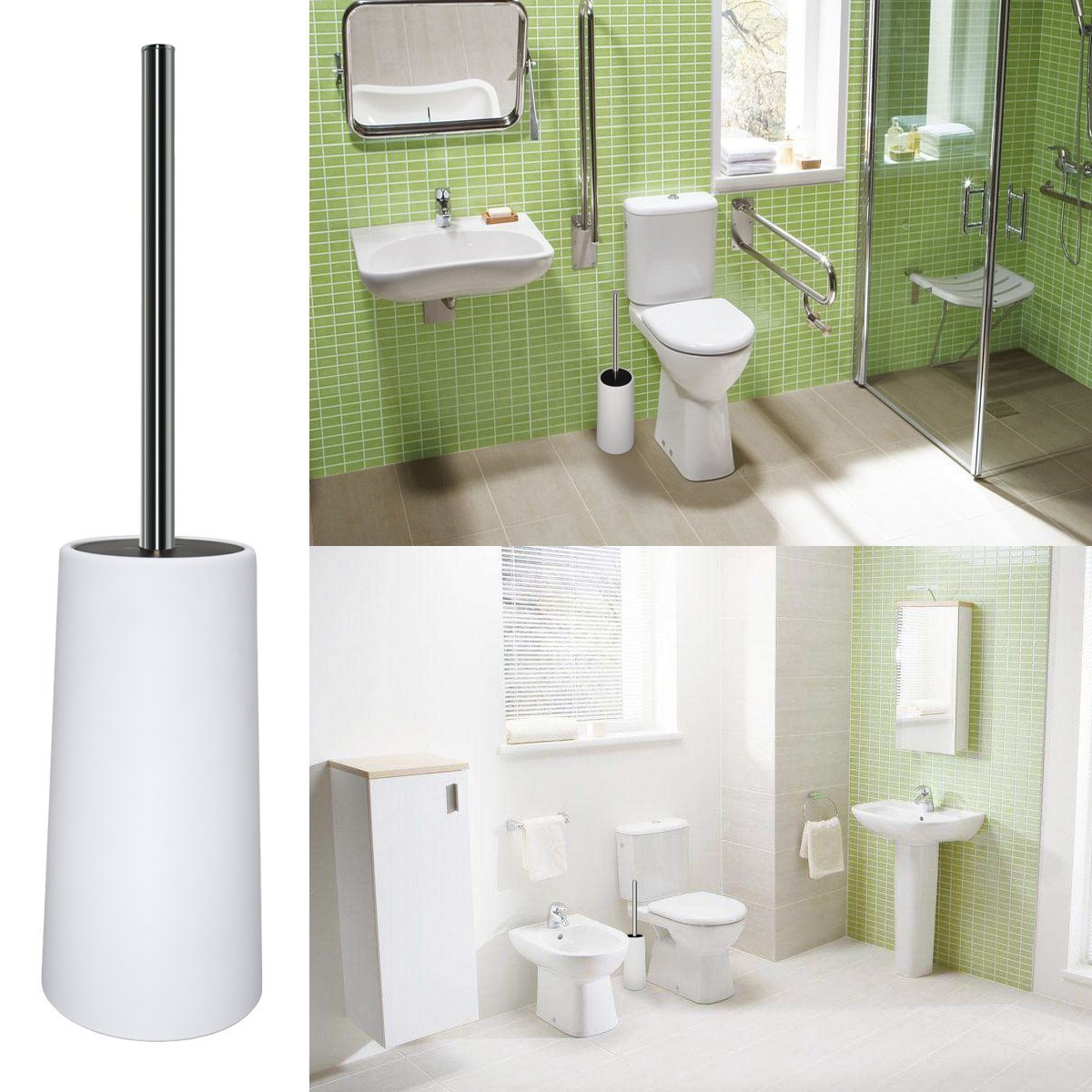 Bligli Toilet Brush, White Plastic Toilet Brush and Holder, Stainless Steel Handle, Strong Bristles, Replaceable Brush Head,Perfect for Bathroom,1Pack
