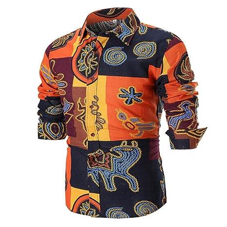 Blusa Superior de la Camisa de Manga Larga Delgada Ocasional del Verano de los Hombres de la Personalidad: Amazon.es: Ropa y accesorios