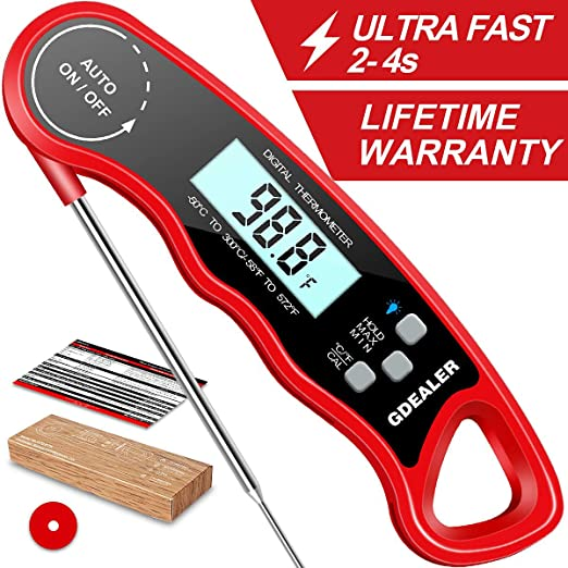 Digital Instant Read Meat Thermometer Red Color Kitchen Cooking Food Candy T