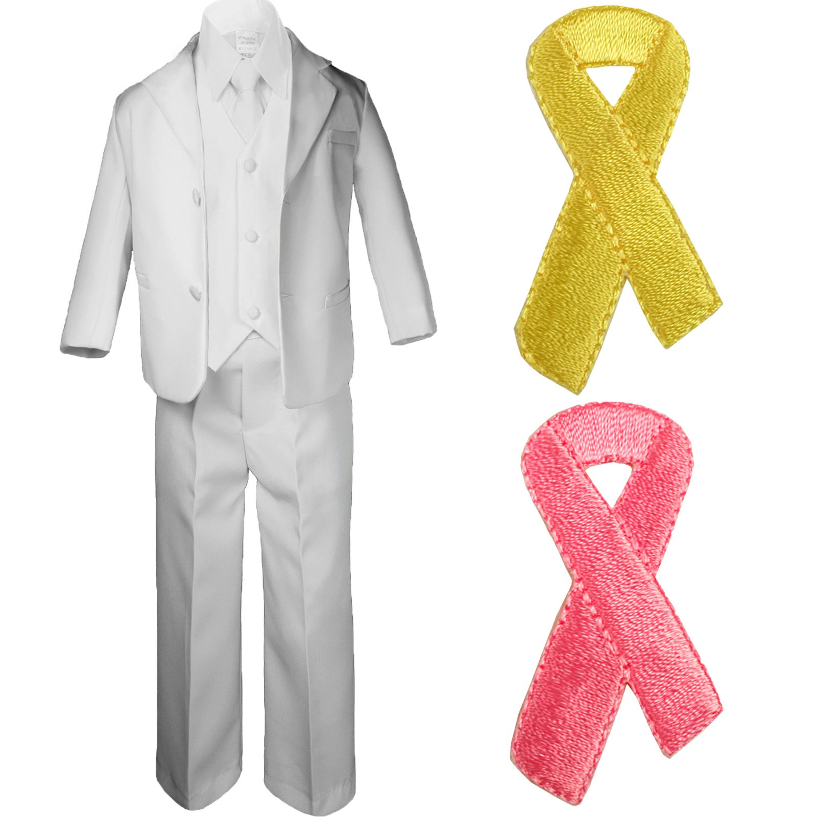 5pc Baby Boy Teen WHITE SUIT w/ Cancer Awareness Ribbon Adhesive LOVE HOPE Patch (2T, 5pc White suit set Only)