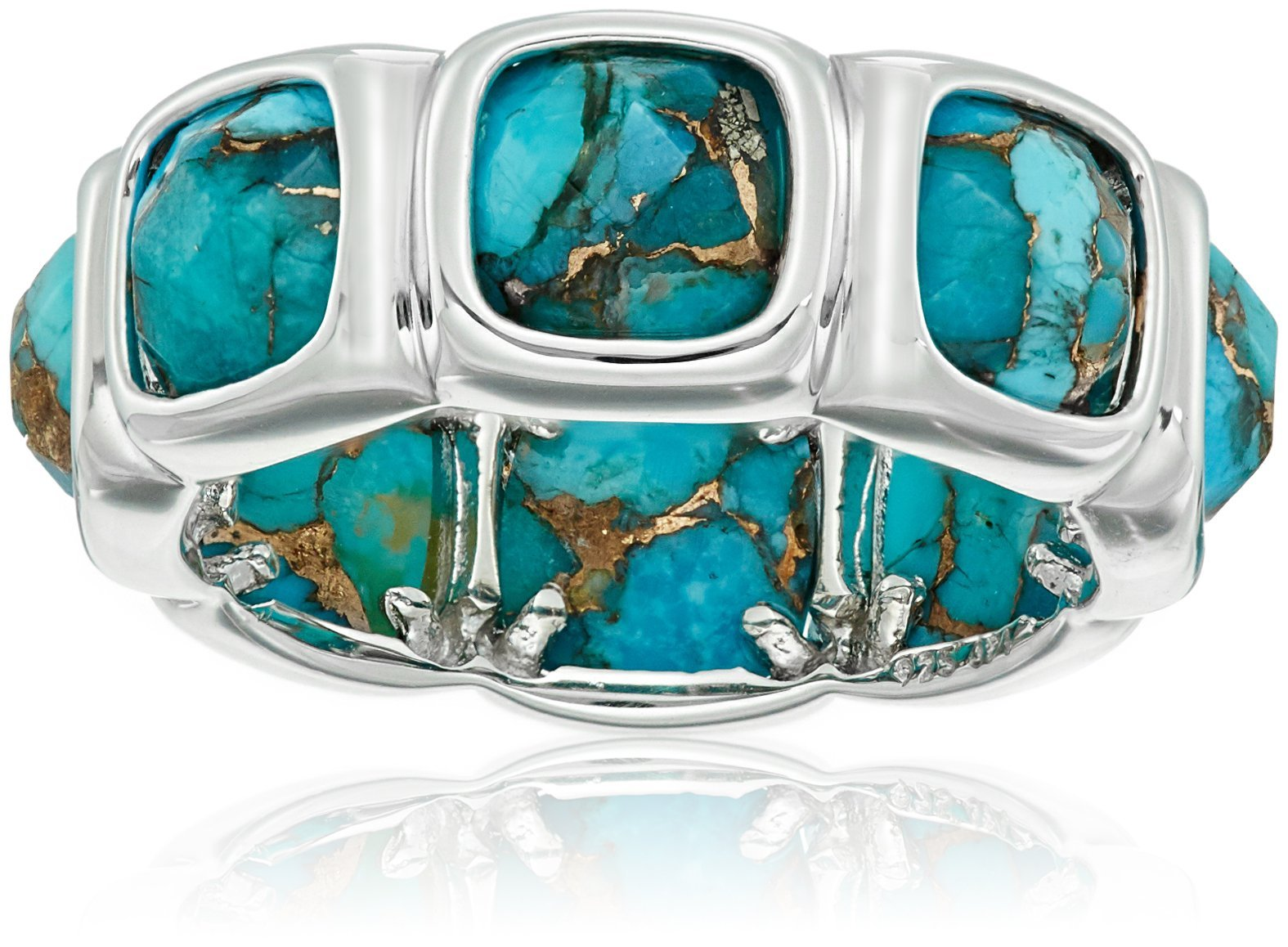 Sterling Silver Contemporary Bezel Set Design with Special Cut Bronze Compressed Turquoise Eternity Ring, Size 8
