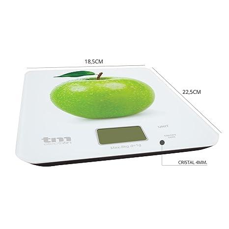 Tm Electron TMPBS021 Báscula Digital de Cocina Ultra Delgada con diseño de Manzana, Pantalla LCD de 18 mm, Cristal, Blanco: Amazon.es: Hogar
