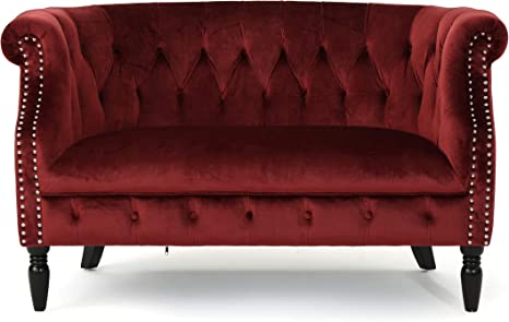 Melaina Tufted Chesterfield Velvet Loveseat With Scrolled Arms Garnet And Dark Brown Furniture Decor