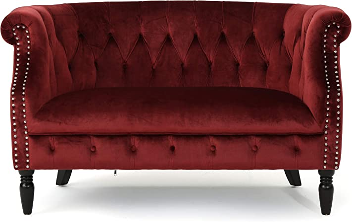 Melaina Tufted Chesterfield Velvet Loveseat With Scrolled Arms Garnet And Dark Brown Furniture Decor Amazon Com