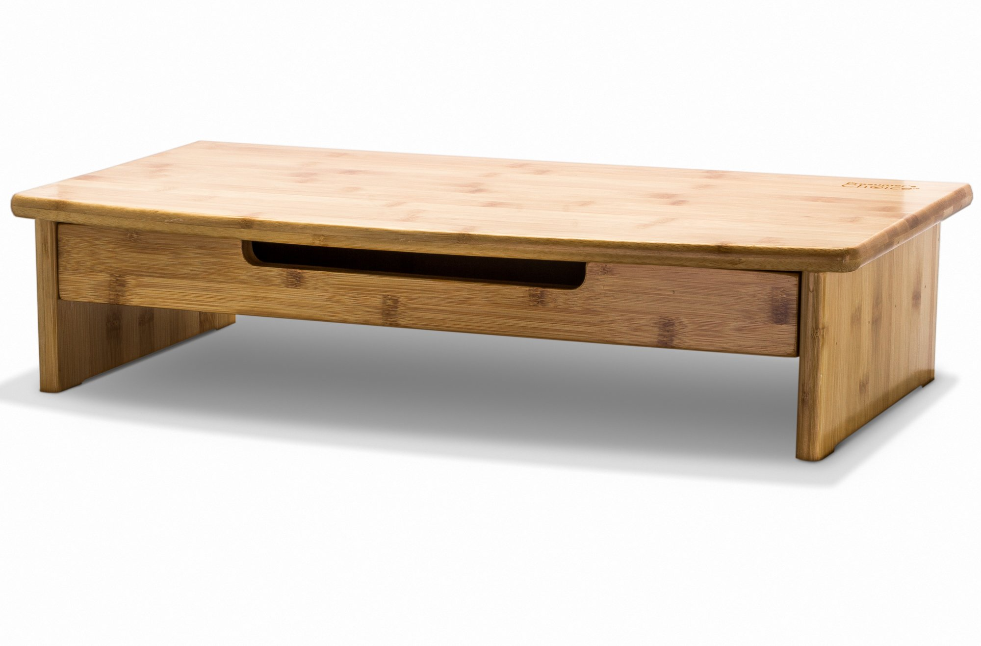 Prosumer's Choice Natural Bamboo Monitor Stand/Riser with Pull-Out Drawer and Hideaway Cubby
