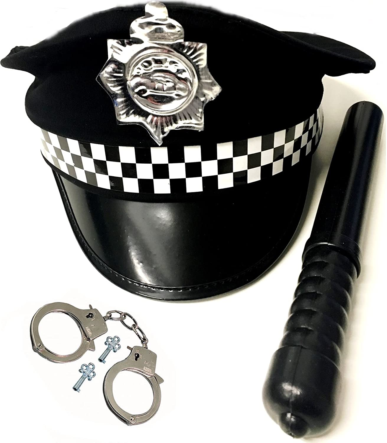MENS BOYS POLICEMAN KIT COP FANCY DRESS HEN STAG DO PARTY POLICE HAT COSTUME SET