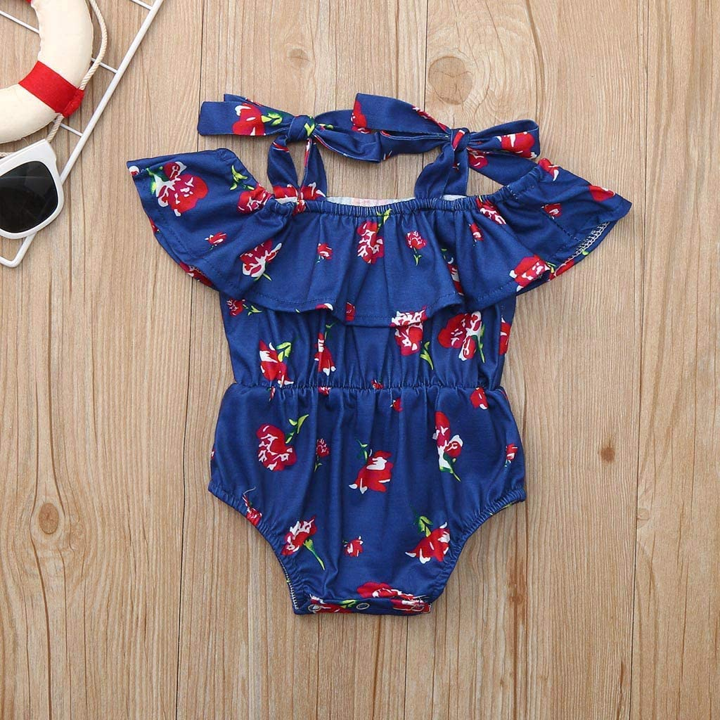 Headband Outfit Set Womola Baby Girl Clothes 2pcs Solid Color Romper Floral Printed Pants