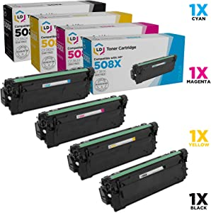 LD Compatible Toner Cartridge Replacement for HP 508X High Yield (Black, Cyan, Magenta, Yellow, 4-Pack)