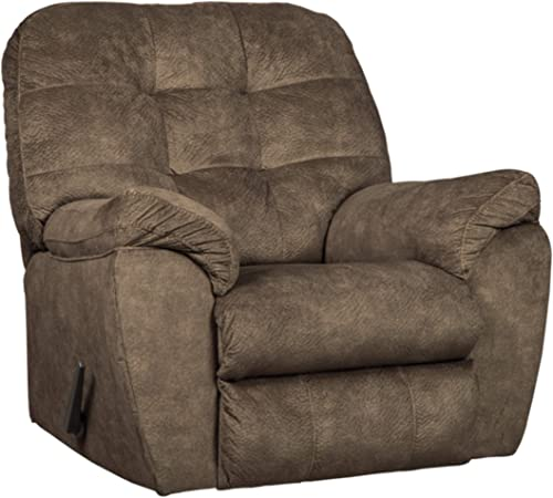 Signature Design by Ashley – Accrington Contemporary Manual Rocker Recliner Chair, Earth Brown