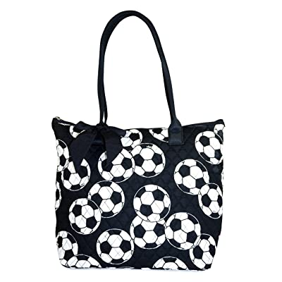 NGIL Quilted Tote Bag Large 16-inch (Soccer Print)