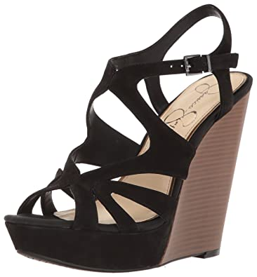 5fe94c289f9 Jessica Simpson Women s BRISSAH Wedge Sandal Black Nubuck 10 Medium US