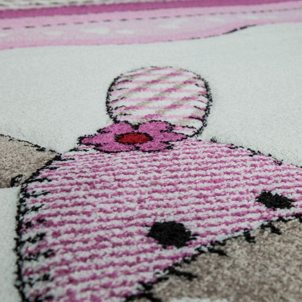 Childrens Rug Children/'s Room Contour Cut Farm Animals Pink Cream Pastel Colours Size:120x170 cm