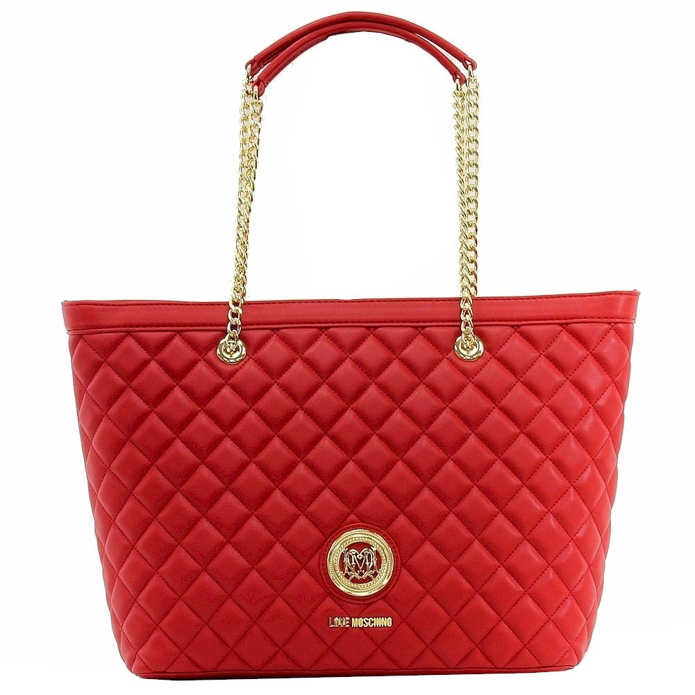Love Moschino Women's Quilted Red Nappa Leather Tote Carry-All Handbag