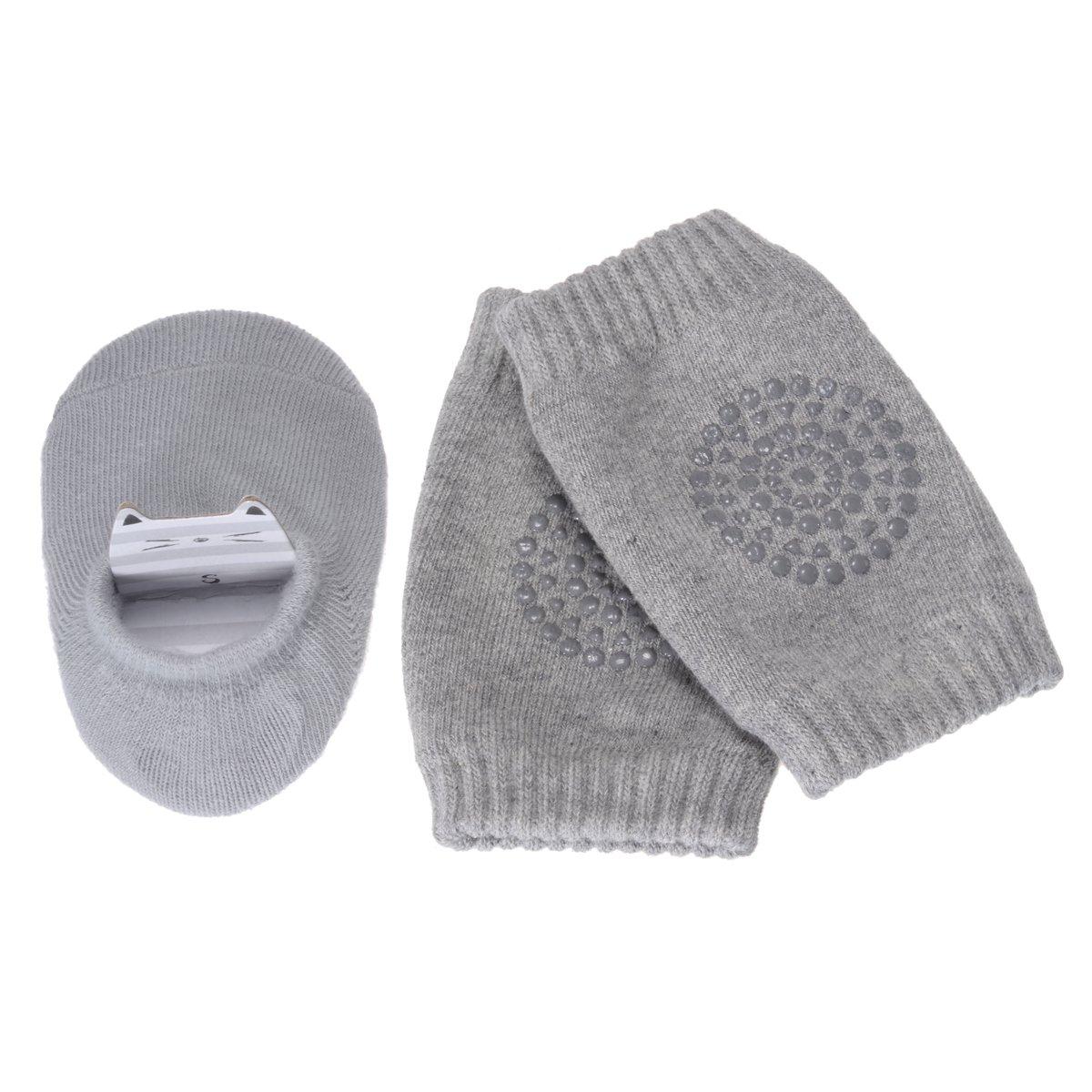 Pchero Unisexe bébé nouveau-né Infant mince antidérapant mignon Chaussettes + tout-petit bébé Genouillères rampants de sécurité Protector–0à 24mois BB011