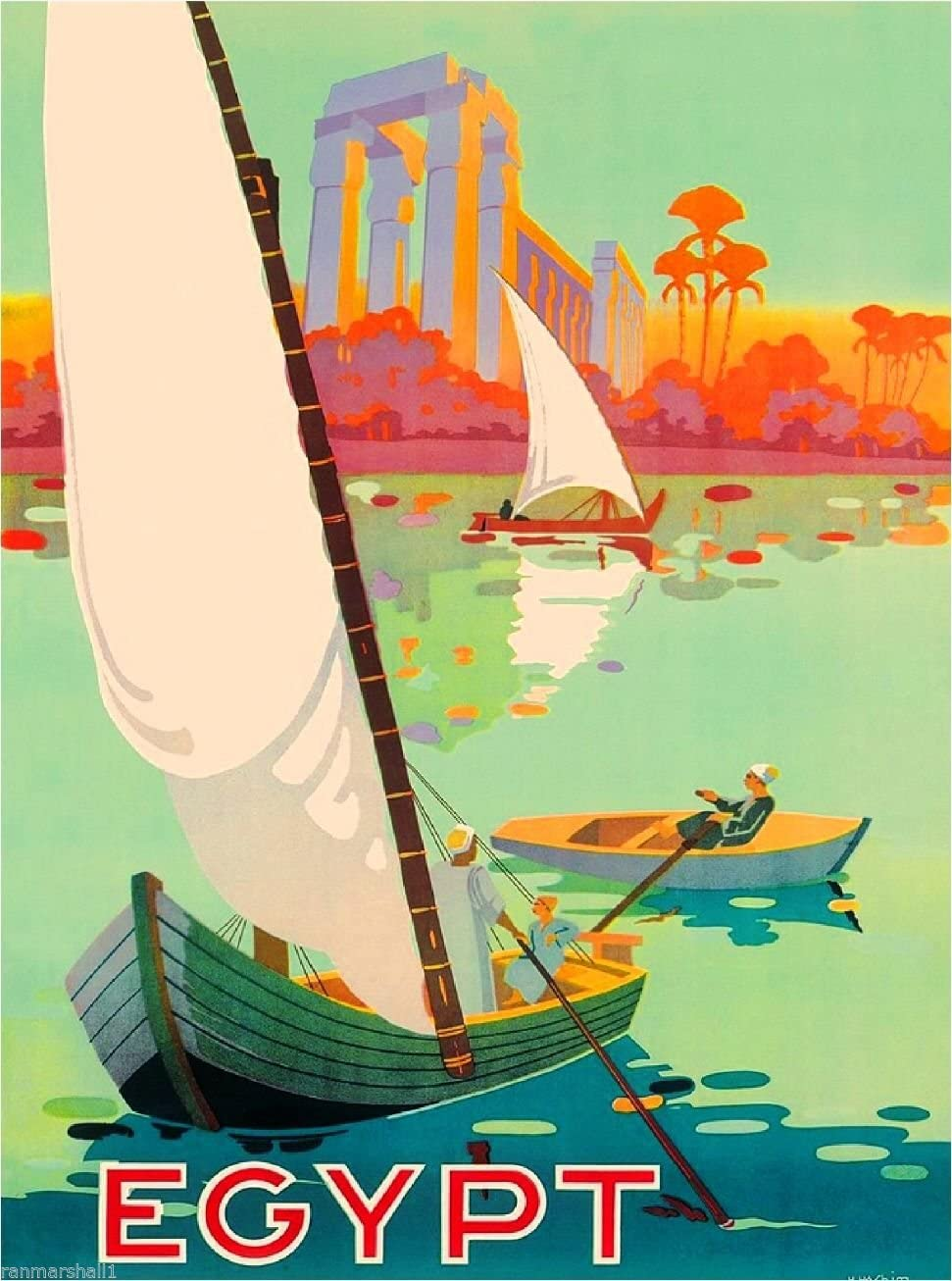 A SLICE IN TIME Along The Nile Egypt Egyptian Middle East Vintage Travel Advertisement Wall Decor Collectible Poster Print. Measures 10 x 13.5 inches