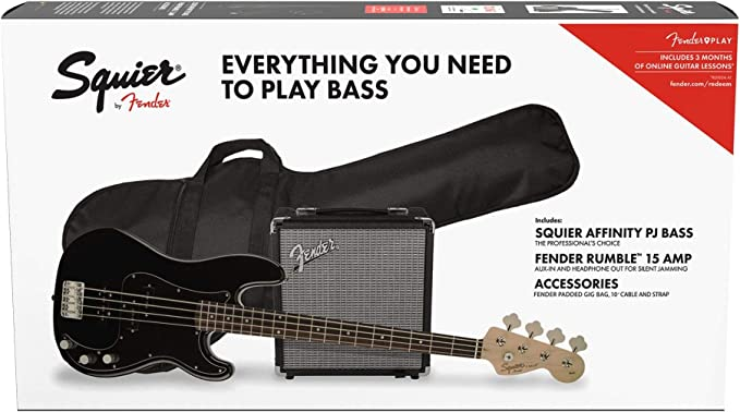 Fender Squier Affinity Precision Bass PJ Laurel Black + Funda + Rumble 15. Pack Bajo Eléctrico: Amazon.es: Electrónica
