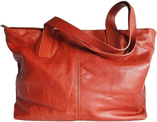 sac cuir femme orange