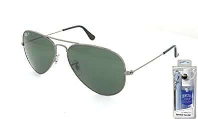 994b8530b3cf Image Unavailable. Image not available for. Color  Ray Ban RB3025 004 58 62  Gunmetal Green Polarized Large Aviator ...