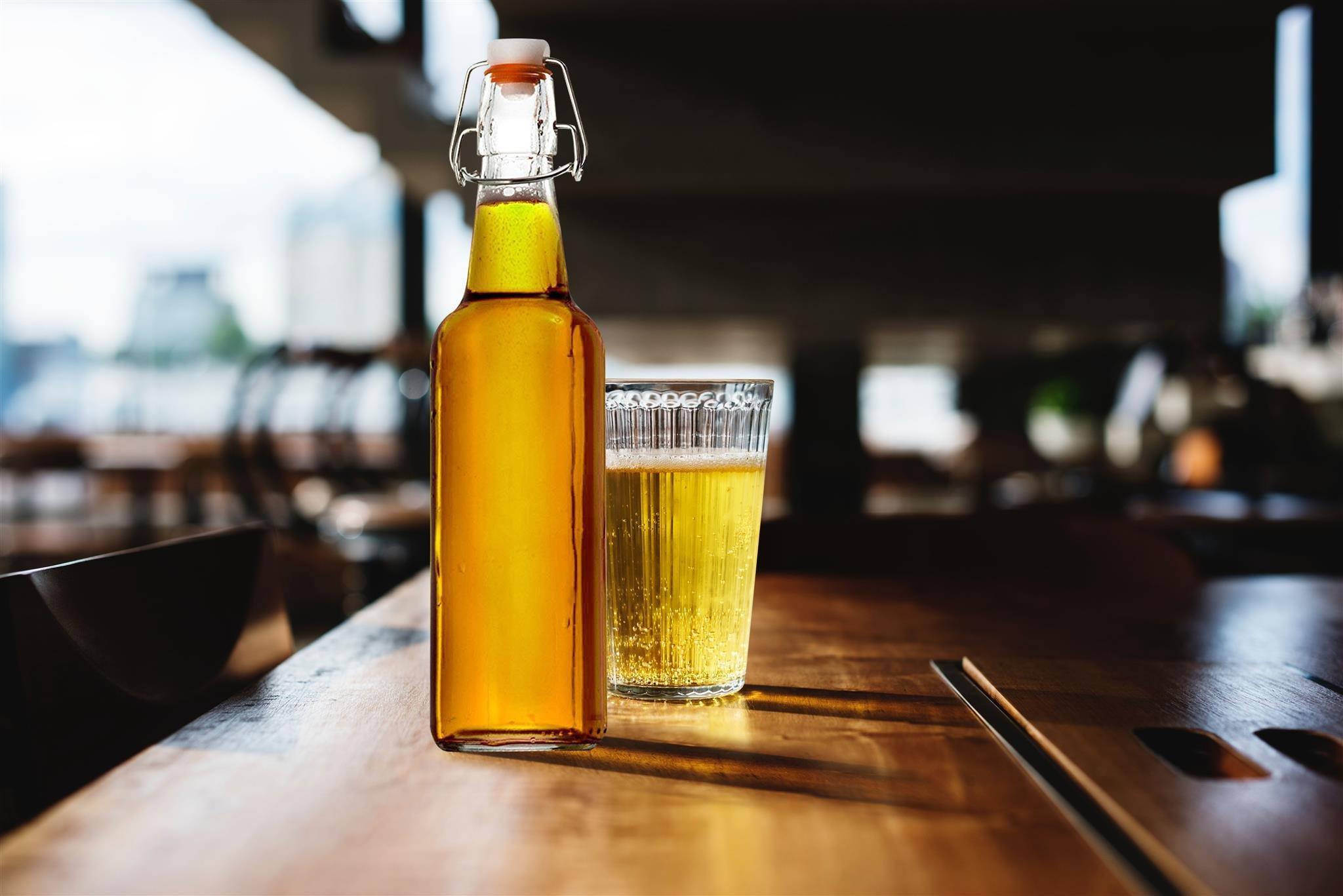 Zuzoro Glass Kombucha Bottles For Home Brewing Kombucha Kefir or Beer - 16 oz Clear Glass Grolsch Bottles case of 6 w/ Easy Swing top Cap w/ Gasket Seal Tight by Zuzuro (Image #7)