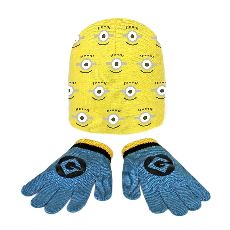 MINIONS 2200000361–Set 2-teilig mit Mütze und Handschuhe für Kinder, Gelb, Einheitsgröße Einheitsgröße Cerdá