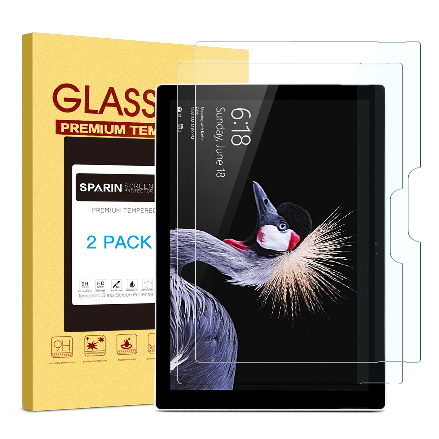 [2 PACK] 2017 New Surface Pro/Surface Pro 4 Screen Protector, SPARIN Tempered Glass Screen Protector with High Responsive/Bubble Free/Scratch Resistant