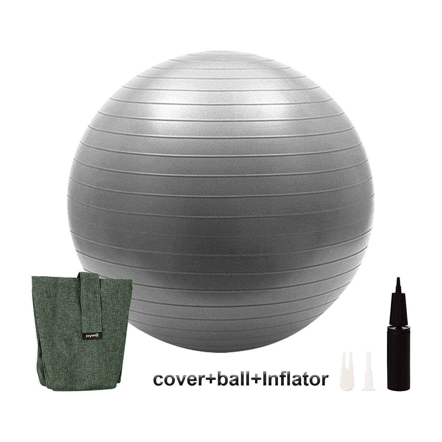 Joywell Exercise Ball with Multifunctional Cover Included Pump, Yoga Fitness Stability Base, Sitting Ball Chair for Office Home Indoor Outdoor (65CM, Army Green)