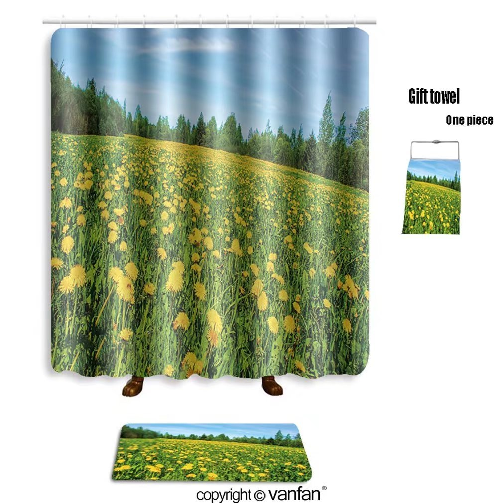 vanfan bath sets with Polyester rugs and shower curtain Meadow flowers, dandelion field landscape 525 shower curtains sets bathroom 72 x 108 inches&31.5 x 19.7 inches(Free 1 towel and 12 hooks)