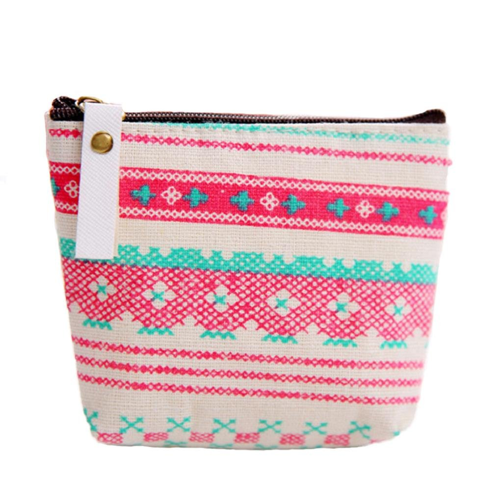 Polytree Printed Canvas Change Coin Purse Holder Zip Mini Wallet - 2