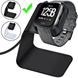 CAVN Compatible Fitbit Versa/Versa Lite Edition Charger Dock Stand Cable, Premium Aluminum Charging Cable Cord Station Cradle Base Attached 4.2ft USB Cable Accessories, Black