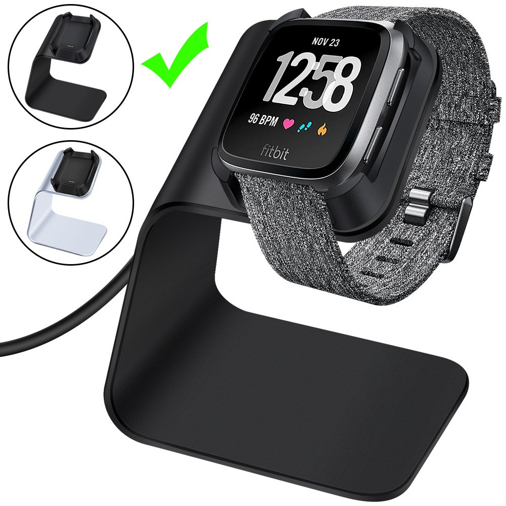 CAVN Compatible Fitbit Versa Charger Dock Stand Cable, Premium Aluminum Charging Cable Cord Station Cradle Base Attached 4.2ft USB Cable Accessories Compatible Fitbit Versa Smartwatch, Black
