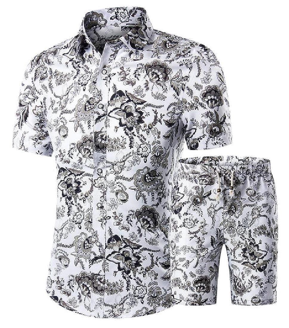 Conjunto de 2 Piezas de Camisetas Hawaianas Informales de Manga Corta con Botones para Hombre dahuo
