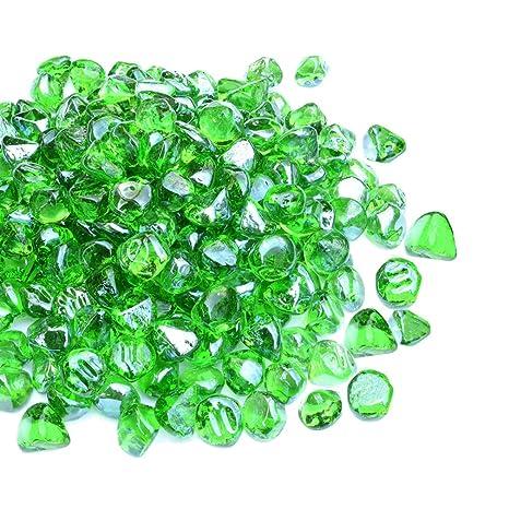 Mr  Fireglass 1/2-Inch Reflective Fire Glass Diamonds for Fireplace, Fire  Pit, Lanscaping, 10 lb, Emerald Green