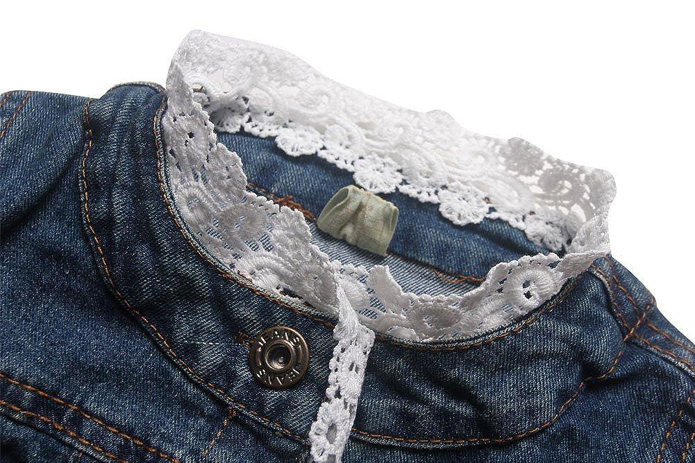 E-Tree eTree Little Girls Cotton Lace Edge Design Buttons Jackets Denim Coats
