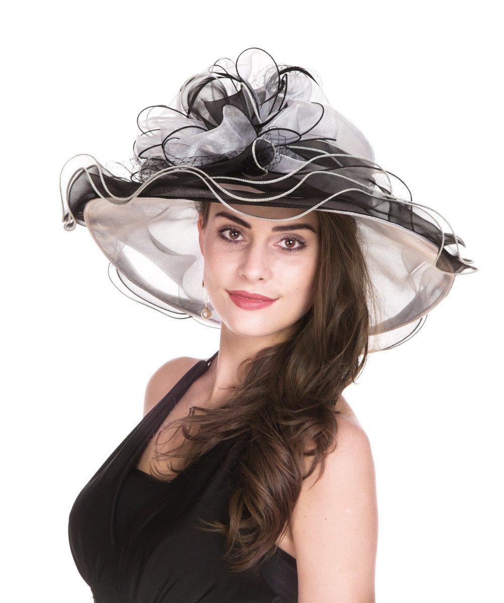SAFERIN Women's Organza Church Kentucky Derby Fascinator Bridal Tea Party Wedding Hat(GZ-White+Black)