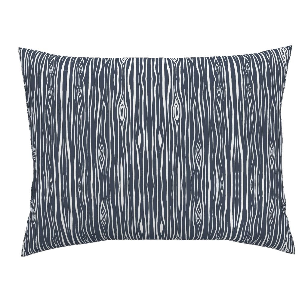 Roostery Navy Standard Knife Edge Pillow Sham Woodgrain Wood Blue Woodland by Sugarpinedesign 100% Cotton Sateen
