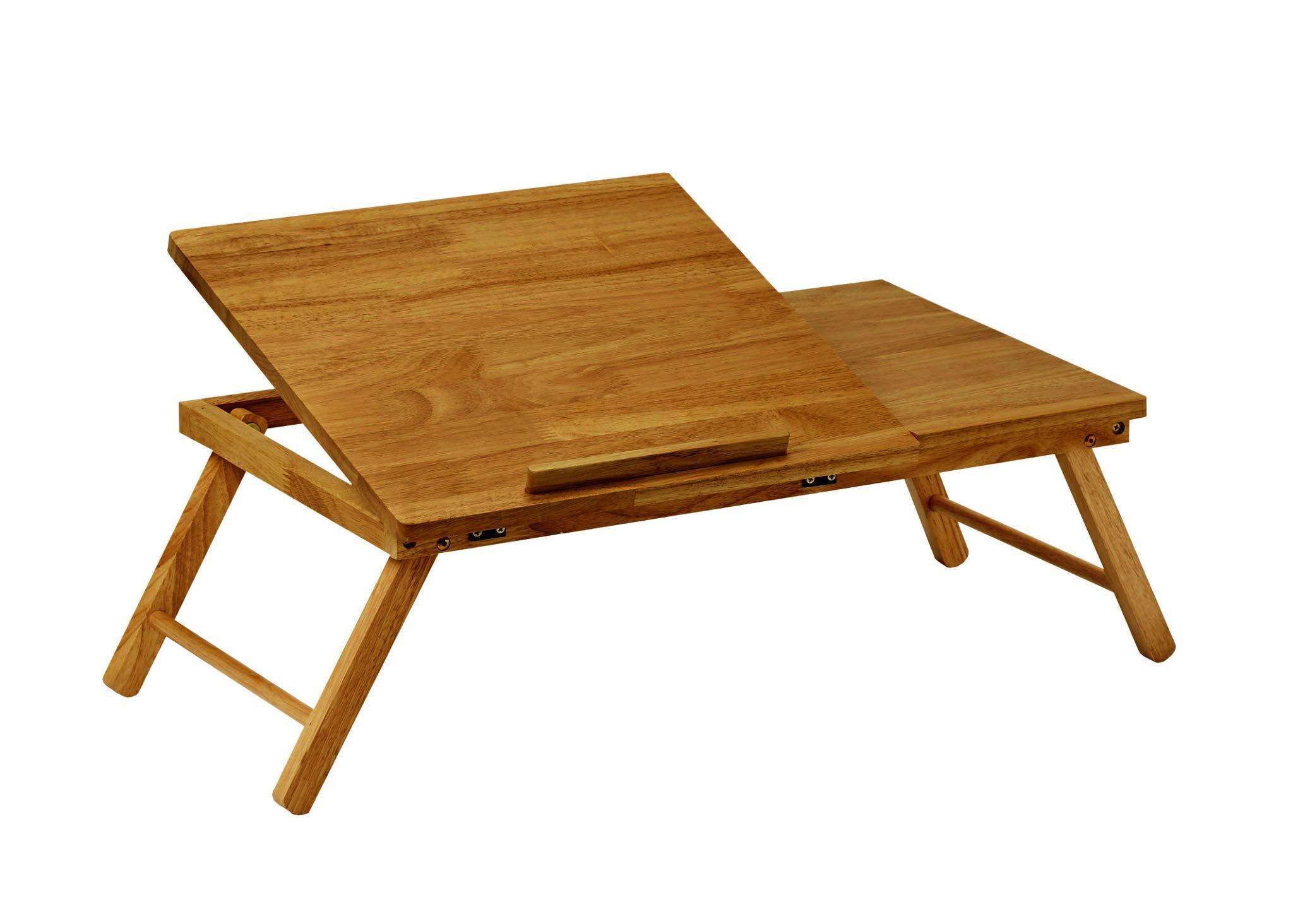 PJ Wood Folding Half-Open Top Laptop Desk and Bed Table - Walnut