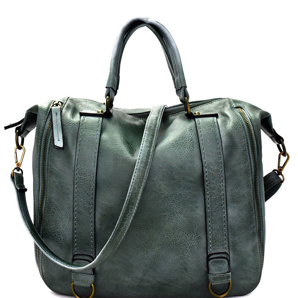 Le Miel Distressed Vegan Leather Rustic Weekender w Strap  Olive
