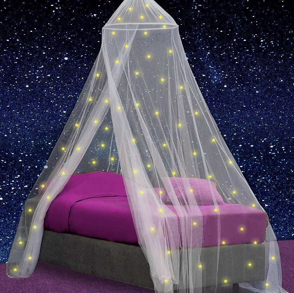 Canopy for Girls Bed with Pre-Glued Glow in the Dark Stars - Princess Mosquito Net Room Decor - Kids & Baby Bedroom Tent with Galaxy Lights - 1 Opening Canopy Bed & Hanging Kit Included