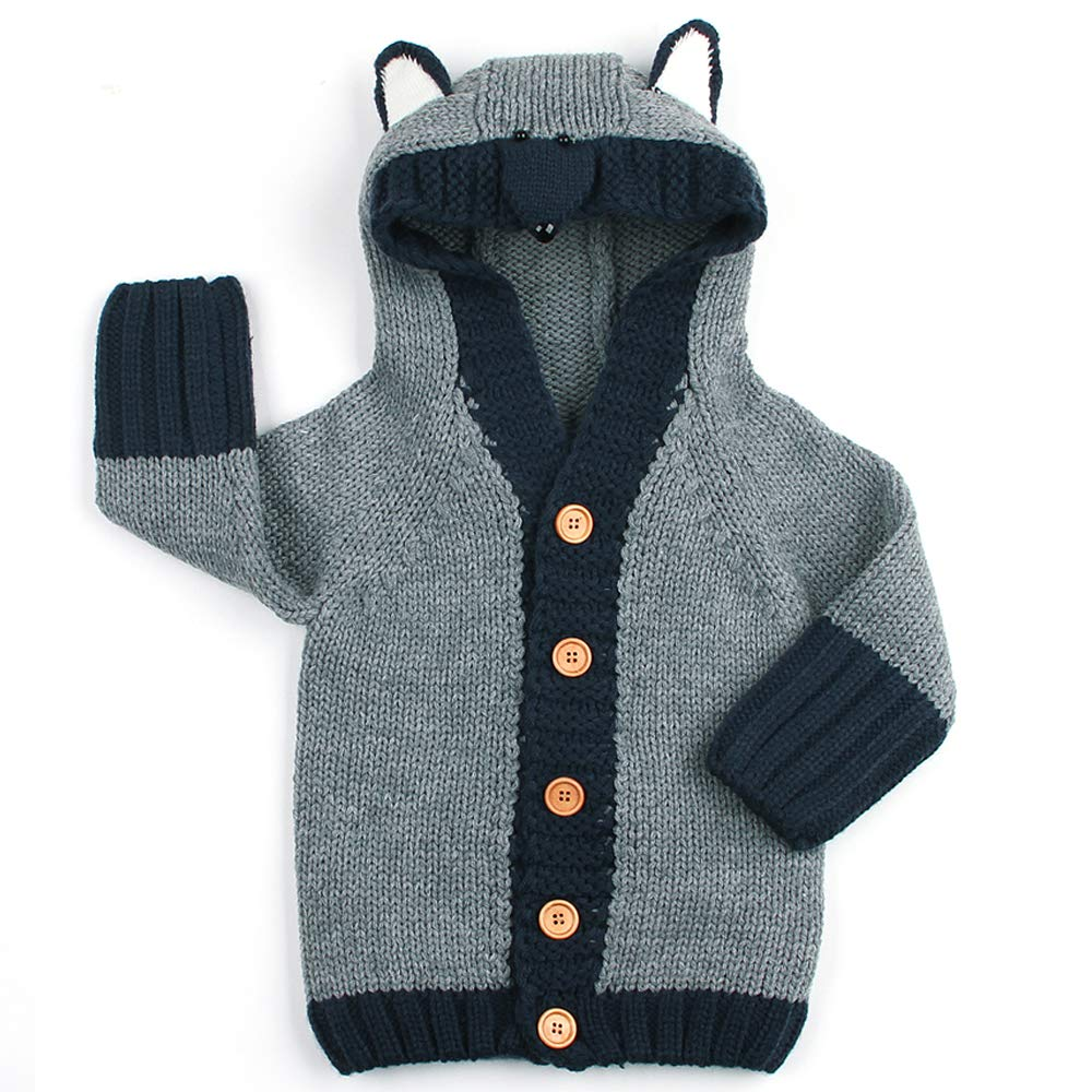 Exemaba Hooded Cardigan Sweater for Baby - Toddler Boys Girls Hoodies Jacket Coat Infant Warm Outfit Cartoon Overall