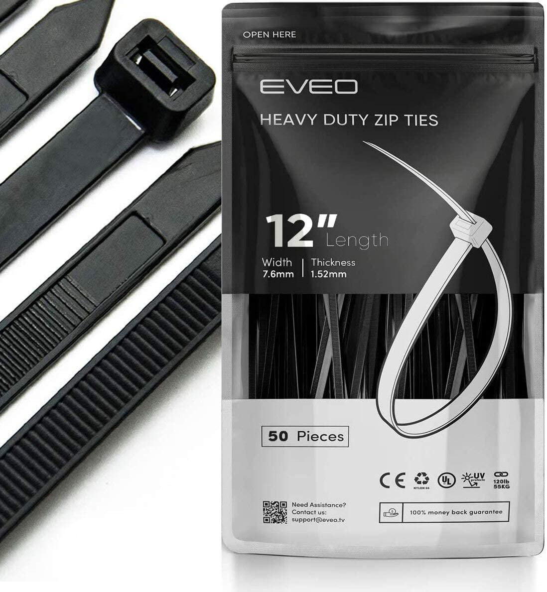 EVEO 12 inch Zip Ties Heavy Duty - Black Zip Ties | Cable Ties Straps & Zipties - Plastic Ties Wire Ties Wraps for Cables